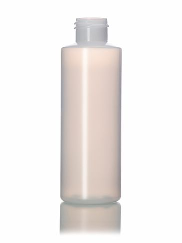 4 oz natural-colored HDPE plastic cylinder round bottle with 24-410 neck finish