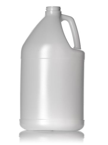 1 gallon natural-colored HDPE plastic industrial round bottle with 38-400 neck finish