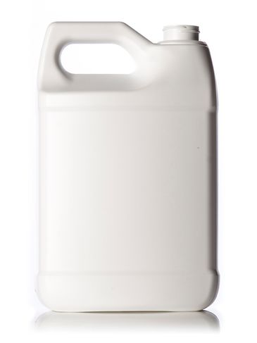 1 gallon white HDPE plastic f-style container with 38-400 neck finish