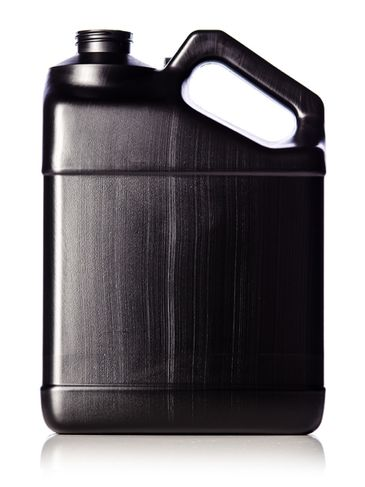1 gallon black HDPE plastic f-style container with 38-400 neck finish