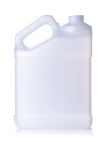 1 gallon natural-colored HDPE plastic f-style container with 38-400 neck finish