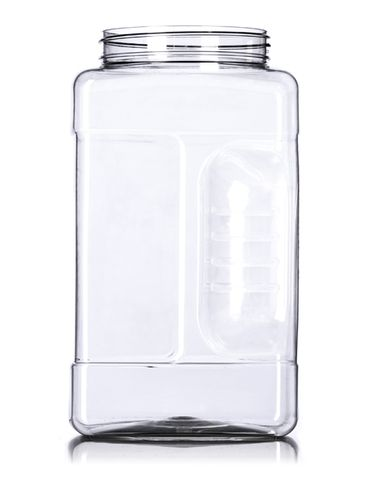 1 gallon clear PET plastic square grip container with 110-400 neck finish