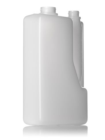 2 liter natural-colored HDPE plastic twin-neck bottle (requires 2 caps) with 38-400 and 28-400 neck finishes