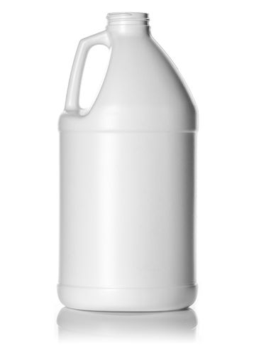 64 oz white HDPE plastic industrial round bottle with 38-400 neck finish