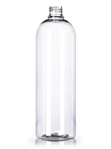 1 liter clear PET plastic bullet round bottle with 28-410 neck finish