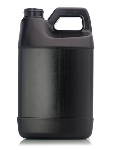 64 oz black HDPE plastic f-style container with view stripe and 38-400 neck finish