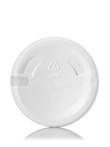 16 oz white HDPE plastic cylinder round bottle with 24-410 neck finish and view stripe
