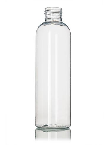 6 oz clear PET plastic cosmo round bottle with 24-410 neck finish