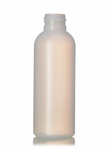 4 oz natural-colored HDPE plastic cosmo round bottle with 24-410 neck finish