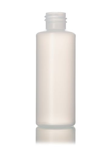 2 oz natural-colored HDPE plastic cylinder round bottle with 20-410 neck finish