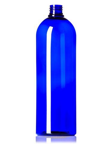 32 oz cobalt blue PET plastic cosmo round bottle with 28-410 neck finish