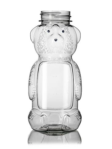 8 oz clear PET plastic honey bear bottle (12 oz of honey) with 38-400 neck finish