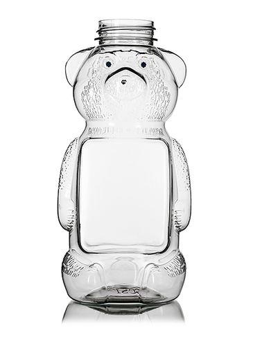 16 oz clear PET plastic honey bear bottle (24 oz of honey) with 38-400 neck finish