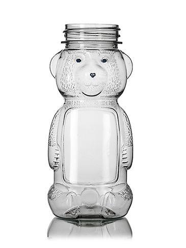 5 oz clear PET plastic honey bear bottle (8 oz of honey) with 38-400 neck finish