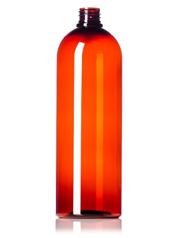 32 oz amber PET plastic cosmo round bottle with 28-410 neck finish