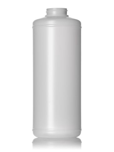 32 oz natural-colored HDPE plastic cylinder round bottle with 38-400 neck finish