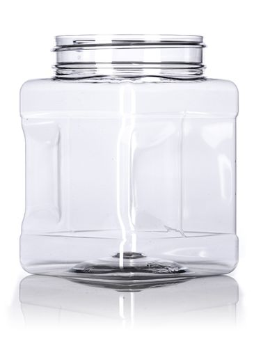 32 oz clear PET plastic square grip container with 89-400 neck finish