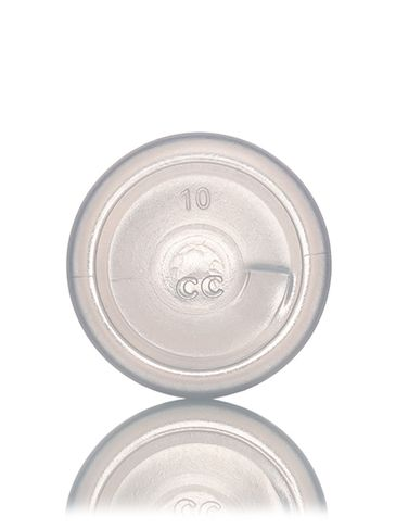 1 oz natural-colored LDPE plastic boston round bottle with 20-410 neck finish