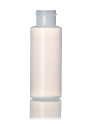 2 oz natural-colored HDPE plastic cylinder round bottle with 24-410 neck finish