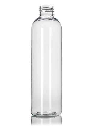 8 oz clear PET plastic cosmo round bottle with 24-410 neck finish