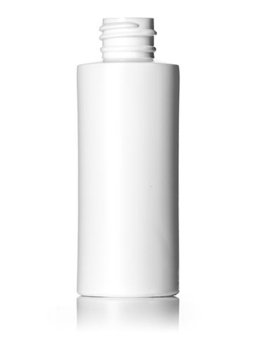 2 oz white HDPE plastic flame treated cylinder round bottle with 20-410 neck finish