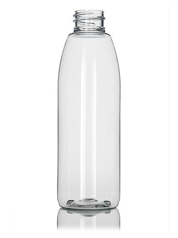 8 oz clear PET plastic round bottle with 28-410 neck finish