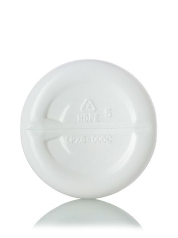 8 oz white HDPE plastic imperial round bottle with 24-410 neck finish