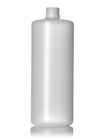 32 oz natural-colored HDPE plastic cylinder round bottle with 28-410 neck finish