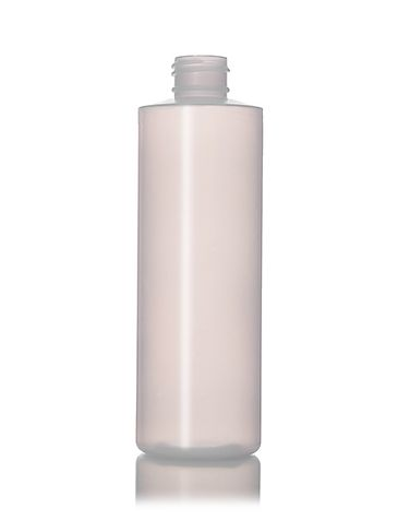 8 oz natural-colored LDPE plastic cylinder round bottle with 24-410 neck finish
