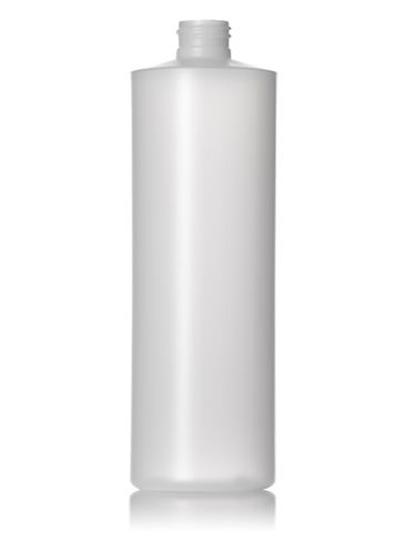 16 oz natural-colored HDPE plastic cylinder round bottle with 24-410 neck finish