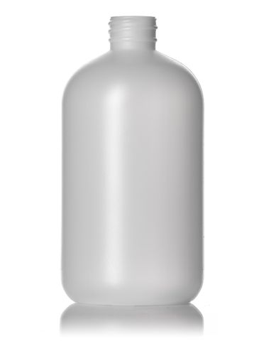 16 oz natural-colored HDPE plastic boston round bottle with 28-410 neck finish