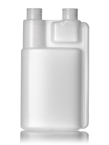 16 oz natural-colored HDPE plastic twin-neck bottle (requires 2 caps) with 28-410 neck finish