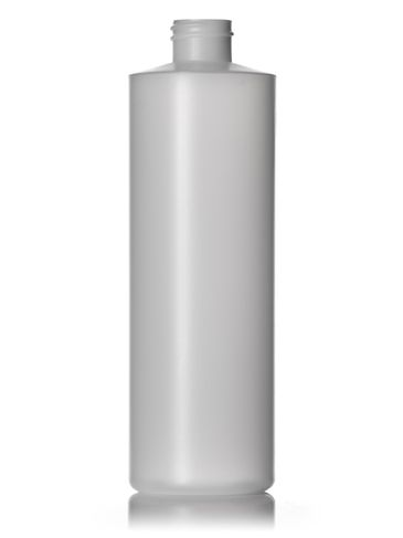 16 oz natural-colored HDPE plastic cylinder round bottle with 28-410 neck finish