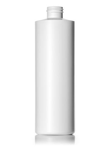 16 oz white HDPE plastic cylinder round bottle with 28-410 neck finish