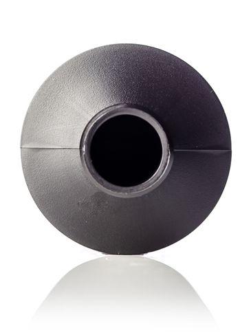 16 oz black HDPE plastic cylinder round bottle with 28-410 neck finish