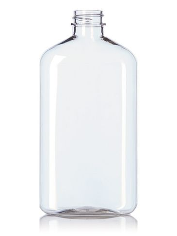 500 mL clear PET plastic metric oblong bottle with 28-400 neck finish