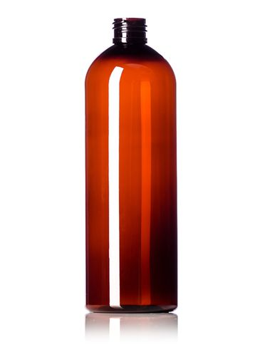 16 oz amber PET plastic cosmo round bottle with 24-410 neck finish