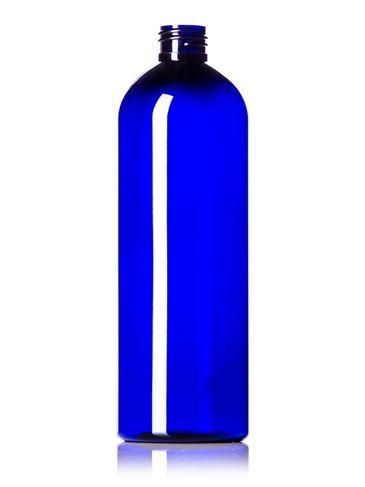 16 oz cobalt blue PET plastic cosmo round bottle with 24-410 neck finish