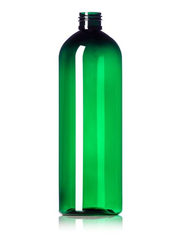 16 oz green PET plastic cosmo round bottle with 24-410 neck finish