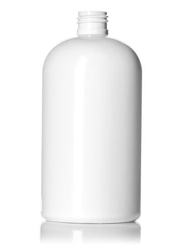 16 oz white PET plastic squat boston round bottle with 24-410 neck finish