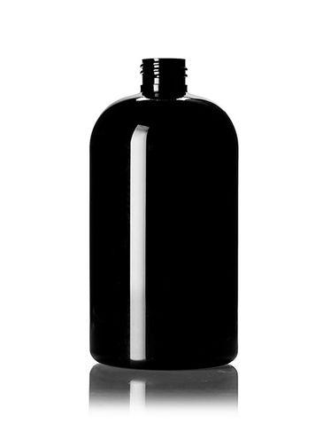 16 oz black PET plastic squat boston round bottle with 24-410 neck finish