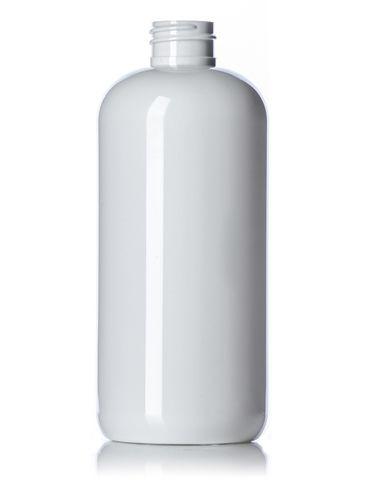 16 oz white PET plastic boston round bottle with 28-410 neck finish