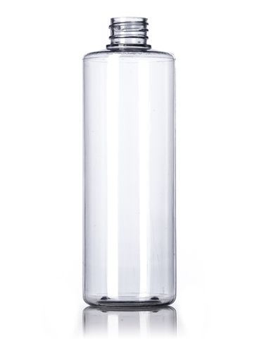 16 oz clear PVC plastic cylinder round bottle with 28-410 neck finish