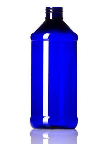 16 oz cobalt blue PET plastic modern round bottle with 28-410 neck finish