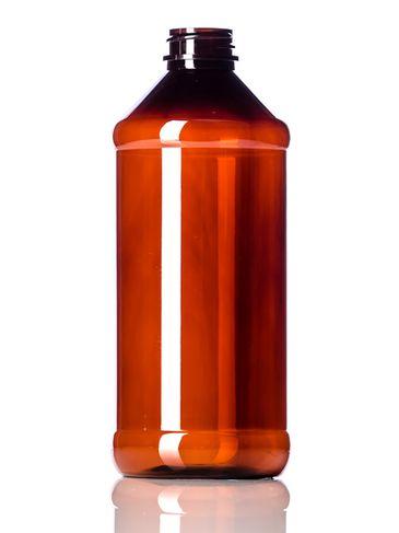 16 oz amber PET plastic modern round bottle with 28-400 neck finish