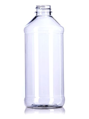 16 oz clear PET plastic modern round bottle with 28-400 neck finish