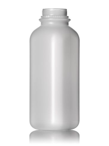 16 oz natural-colored HDPE plastic dairy bottle with 38SS neck finish