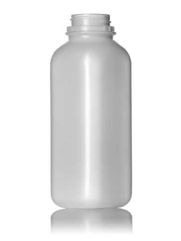 16 oz natural-colored HDPE plastic dairy bottle with 38-400 neck finish