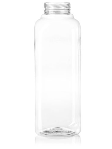 16 oz clear PET plastic french square bottle with 38-IPEC neck finish