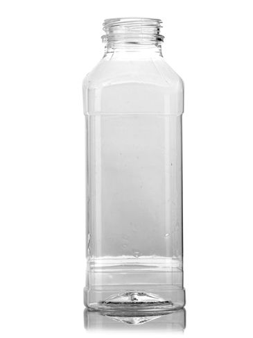14.5 oz clear PET plastic french square bottle with 38-DBJ neck finish